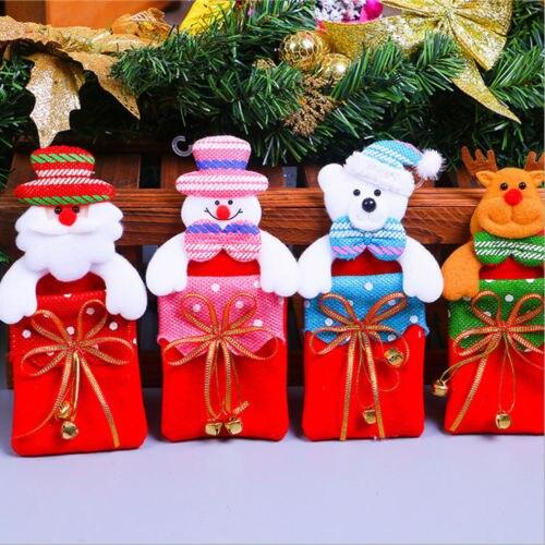 1 Stks Classic Kerstman Leuke Herten Opknoping Gift Bag Kerst Decoratie Partij Ornamenten Candy Tassen Xmas Thuis Tafel Decor