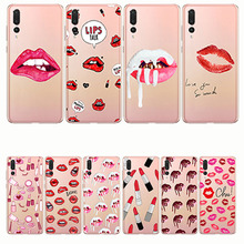 Cover Sexy Lady woman girl red lips Soft tpu Silicon Phone Case for huawei p8 p9 p10 p20 lite p20plus