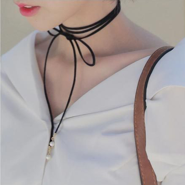 DIY Black String Wrap Choker Necklace Women Suede Leather Rope Tie Choker  Long Necklace Sexy Velvet 49282cf142