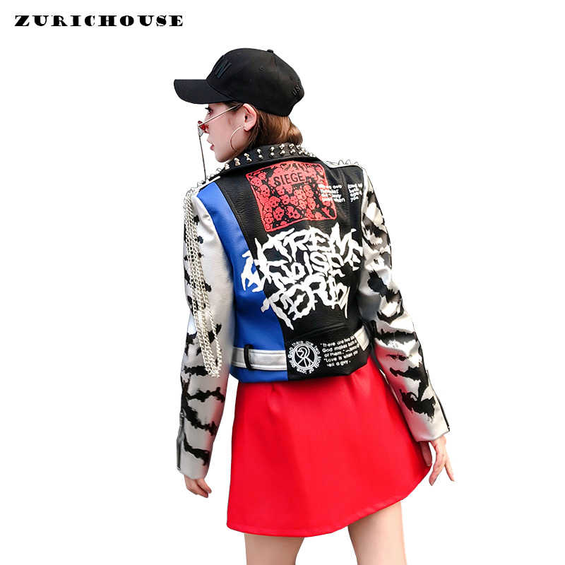 ZURICHOUSE 2019 Punk Women Leather Jacket Rivet Graffiti Moto Jacket Coats New Fashion Streetwear Faux Leather Jackets Women's
