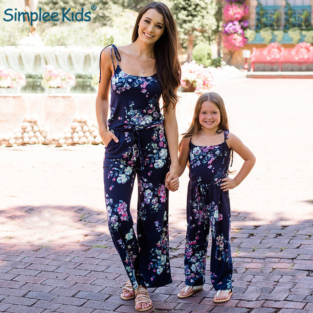 eeed07bb91 Family Matching Clothes Mother Daughter Jumpsuit Women Kids Female Floral Romper  Mother and Daughter Clothes Outfits Mom Mommy