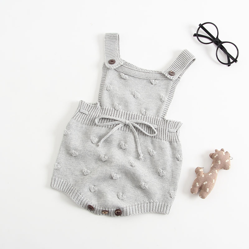 INS Summer Knitted Rompers Newborn In Baby Girls\' Rompers&Jumpsuit Vest Top Tee Kids Boys Gray Rompers 0-3 Years Girl Clothing (1)