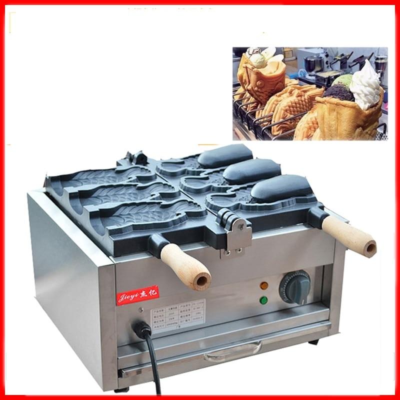 110 220V Commercial 3pcs Electric Ice Cream Multifunction Deep Mouth Taiyaki Fish Waffle Maker Waffle Machine