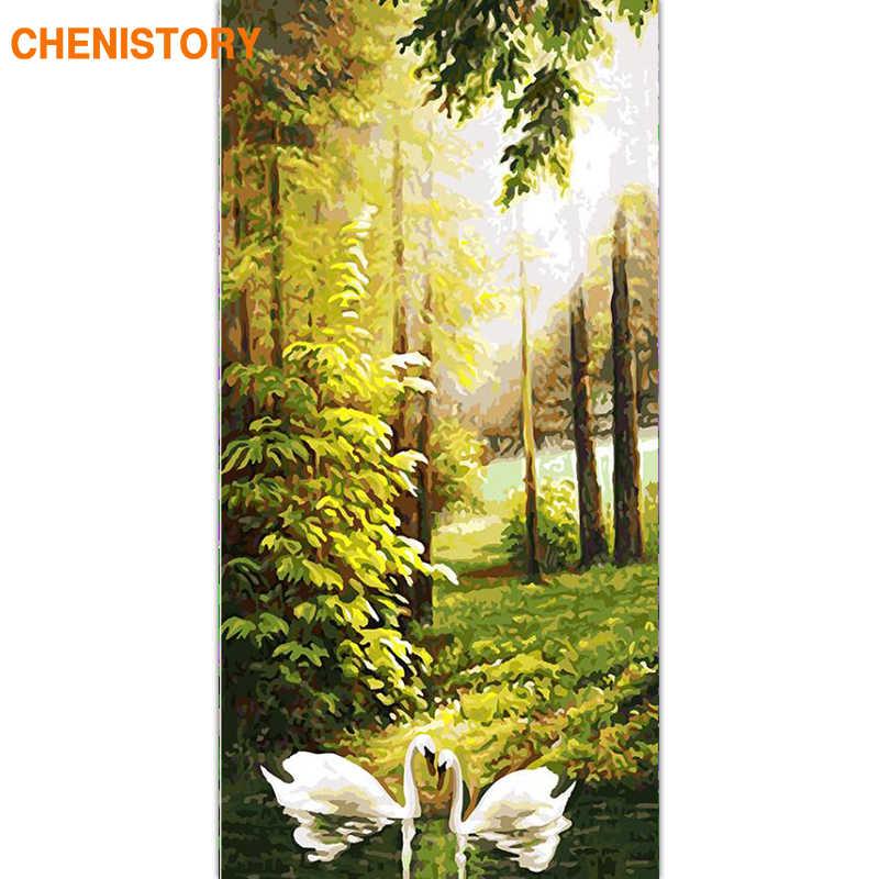 Chenistory рамка лес Лебедь DIY картина по номерам животные ручная роспись маслом Настенная картина для гостиной 60x120 см
