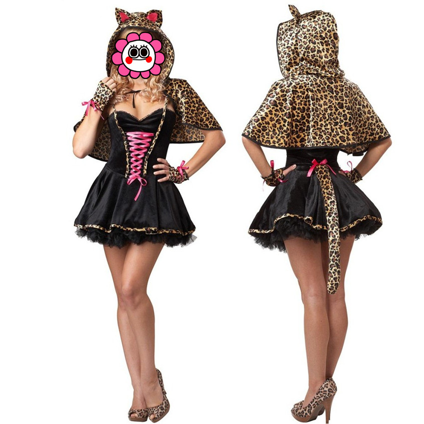 Abbille Sexy Cat Women Costume Halloween Cosplay Leopard Black Fancy Ball Mini Dress Party Club Masquerade