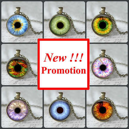 2017 New Fashion Glass Cabochon Necklace Sliver Art Human Eye Necklace Glass Eye Pendant Glass Necklace