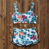 Sexy High Neck Cropped Top Swimwear Secret Bikini Women Push Up Swimsuit Biquini Floral Print Two