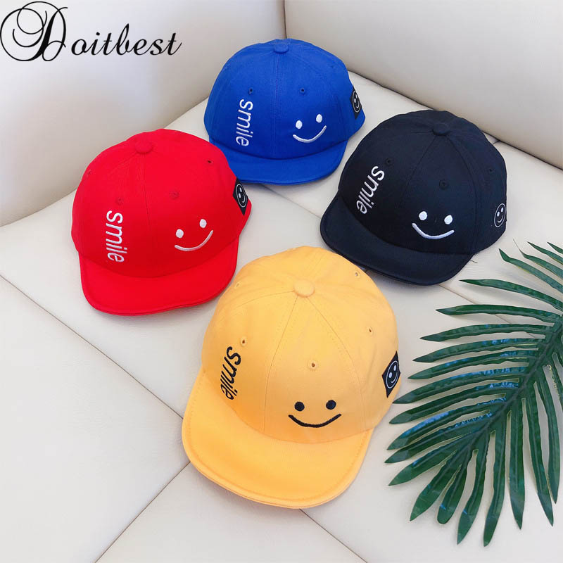 Doitbest 1 to 4 Years Smiling face Children   Baseball     Cap   Boys Girls Soft brim Snapback adjustable baby Kids Hip Hop Hat Sun   cap