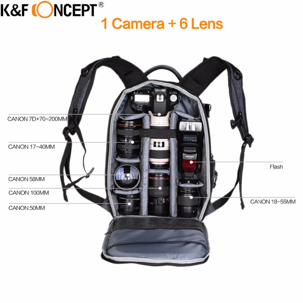 K&F CONCEPT Camera Backpack Waterproof Universal Travel Bag Padded High Capacity Hold Tripod Straps for Canon Nikon Sony Lens fly leaf fl 336 dslr photo bag camera backpack universal large capacity travel camera backpack for canon nikon digital camera