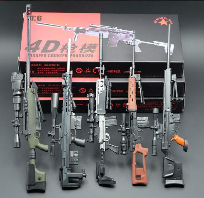 """5Pcs 1:6 Assemble Coated Gun Model Sniper Rifle SVD PSG-1 MK14 DSR-1 TAC-50 Weapon Kits For 12"""" Action Figure Collection Toy"""