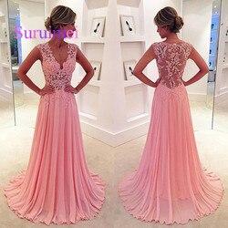 New Hot Pink Lace Apliques Com Decote Em V Longo Chiffon Vestidos de Casamento Vestidos de Festa Ver Através Formal Vestidos de Dama de Honra 2019 Sexy