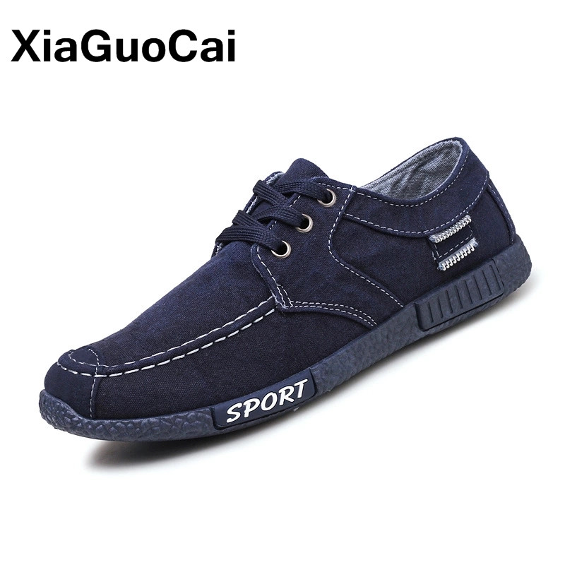 2018 Spring Autumn Men's Casual Shoes Breathable Low Top Lace Up Men Canvas Cloth Shoes Plimsolls Retro Denim Mans Footwear