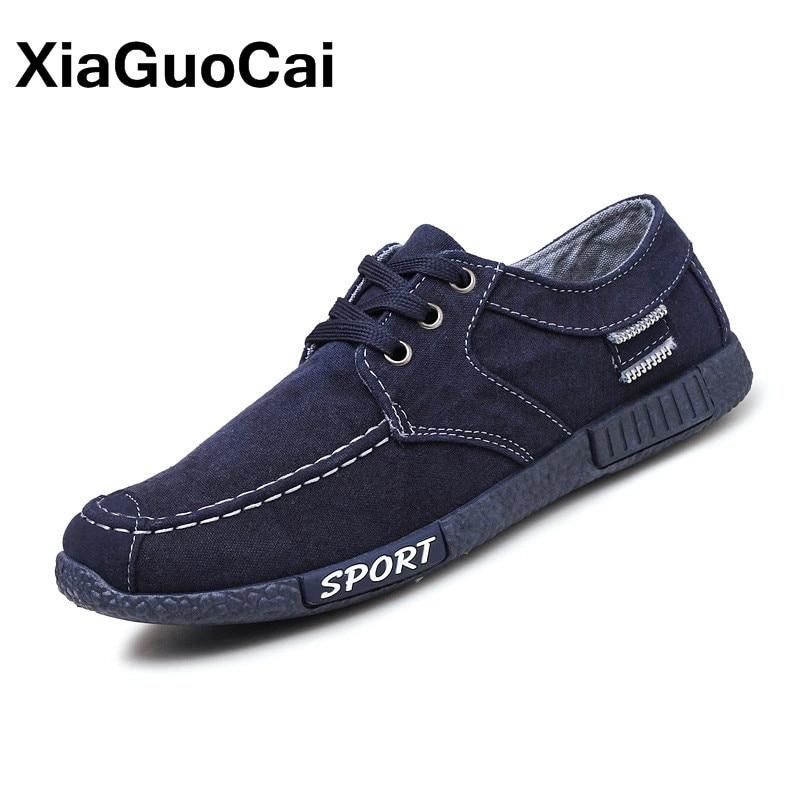 2018 Primavera Otoño zapatos ocasionales de los hombres transpirable Low Top Lace Up hombres zapatos de tela de lona Plimsolls Retro Denim Mans calzado