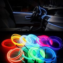 3m Waterproof LED Strip Light Neon Light Glow EL Wire Rope Tube Cable+Battery Controller For Car Decoration Christmas Party(China)