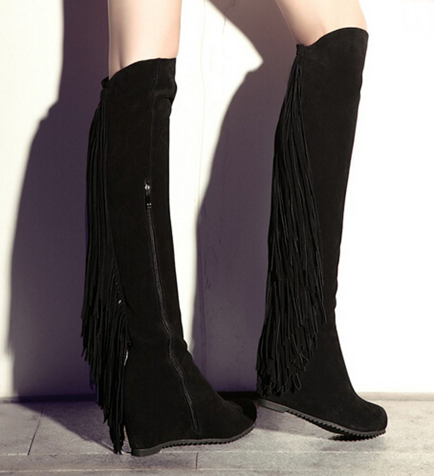 2015 New Arrival Women Back Fringe Over Knee Long Boots Suede Leather Inside Increasing Wedge Boots