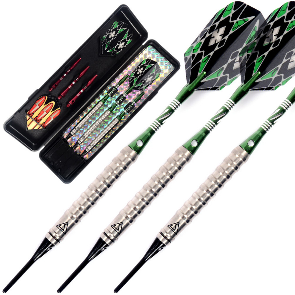 Free Shipping Cuesoul 95% Tungsten Soft Tip Darts Dart Set With Case CSTSTD003 cuesoul 95% tungsten steel tip darts with 6pcs aluminum shafts 30 grams dart barrels