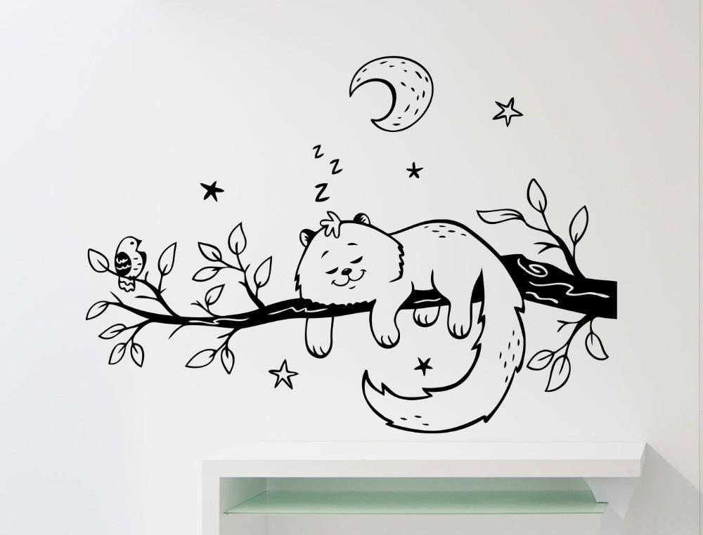 Écureuil de Couchage Sur Branche D'arbre Mignon Stickers Muraux Accueil Drôle Belle Décor Vinyle Stickers Muraux Avec Lune Étoiles Motif Wm-420