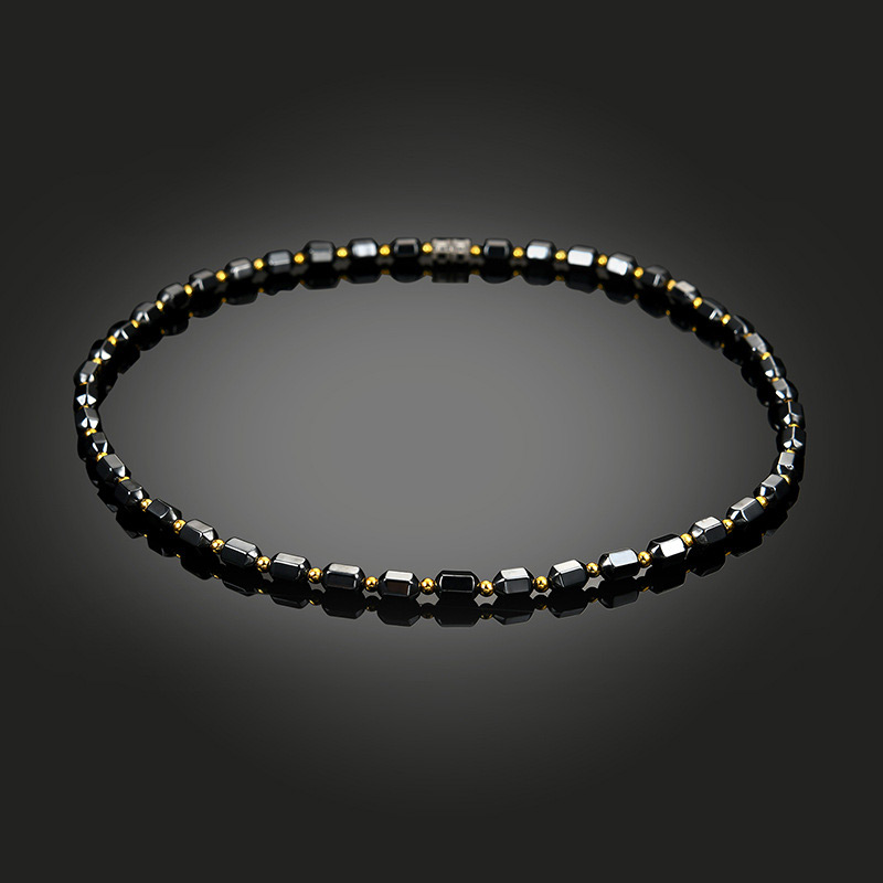 Men Women Black Hematite Necklace Magnet Gold Beads Magnetic Therapy Care Necklaces Jewelry Gift @M23