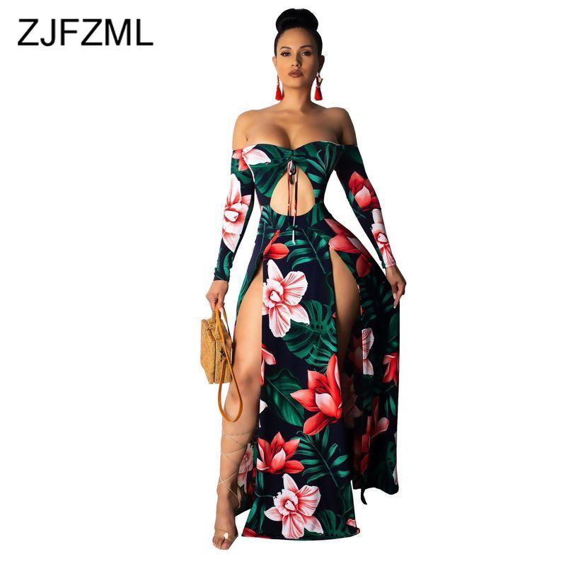 US $20.66 32% OFF|Flower Print Elegant Plus Size Dress Women Slash Neck  Full Sleeve Floor Length Dress Summer Tie Up Cut Out High Slit Maxi  Dress-in ...