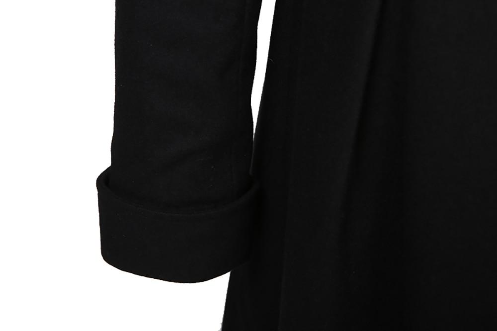 Long Femmes Manteaux Femme Manteau Noir Retour D'origine De D'hiver Laine Ct202 À Urbain Rue En Vêtements Veau Longueur Conception Lacets Alternative Mélangée WrrpxwI7gn
