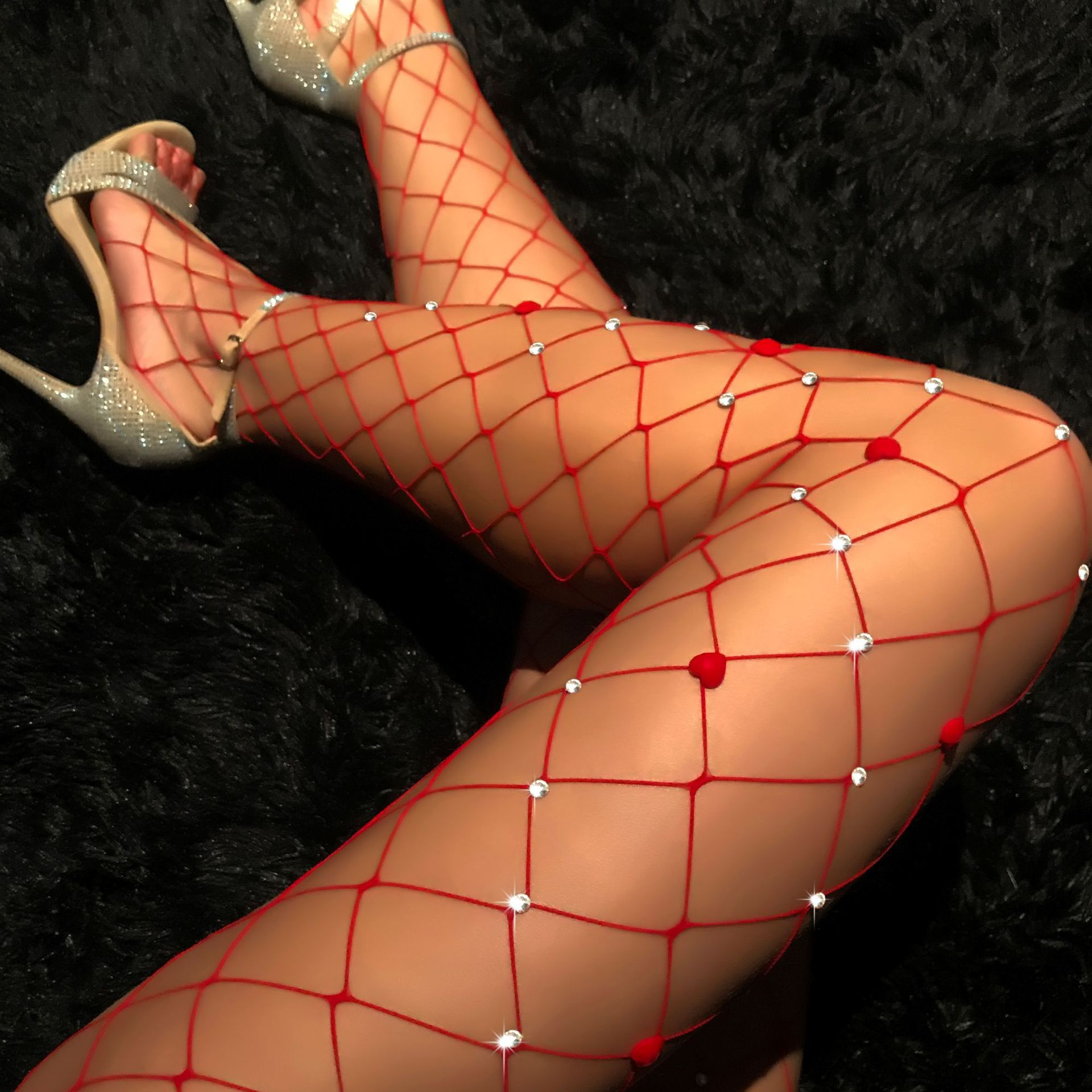 Europe and the United States new sexy red large pantyhose Fashion bright drill hollow mesh tights
