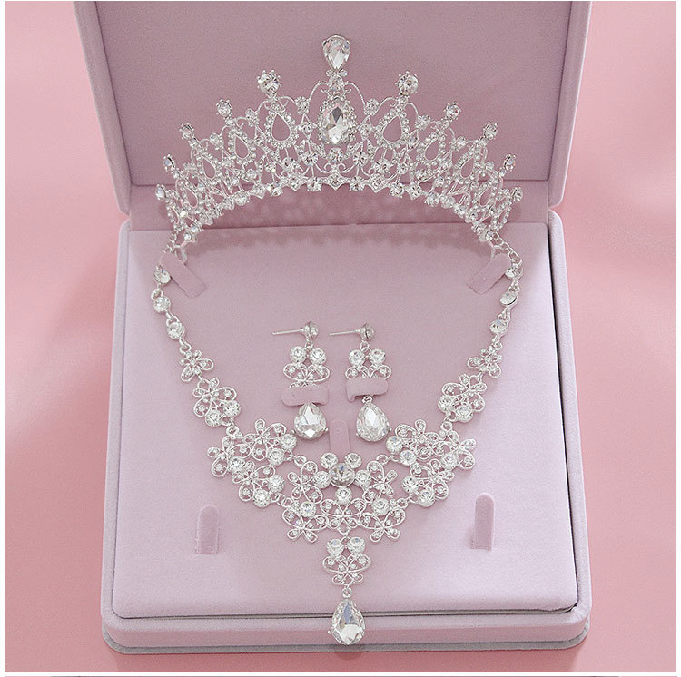 Earring Necklace Jewelry-Sets Bride Tiara Crystal Crowns Wedding-Bridal Women High-Quality