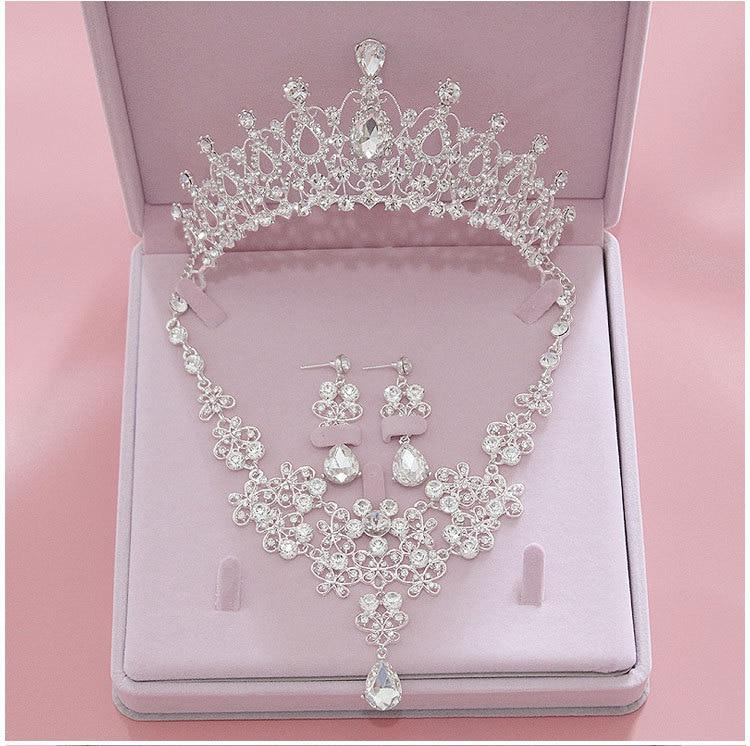 Earring Necklace Jewelry-Sets Tiara Crystal Crowns Bride Wedding-Bridal Fashion Women