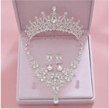 Женский ювелирный комплект из колье и серёг, с кристаллами