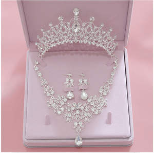 Earring Necklace Jewelry-Sets Tiara Crystal Crowns Bride Wedding-Bridal Women High-Quality