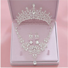 Earring Necklace Jewelry-Sets Tiara Crystal Crowns Bride Wedding-Bridal Fashion Women