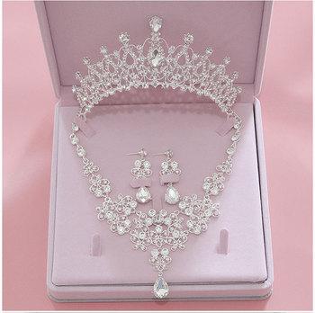 Wysokiej jakości moda kryształowe zestawy biżuterii ślubnej dla nowożeńców kobiety panna młoda Tiara korony kolczyk naszyjnik biżuteria ślubna akcesoria tanie i dobre opinie George Black Ze stopu cynku CN (pochodzenie) TRENDY Crown Necklace Earrings Zestawy biżuterii dla nowożeńców ZM002 Ślub