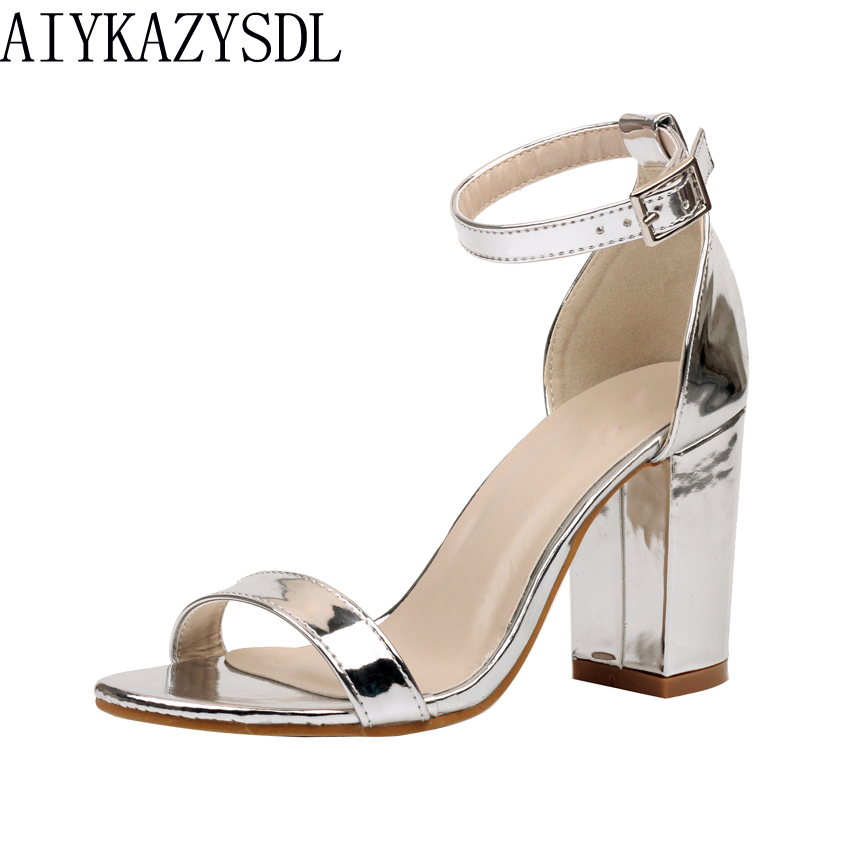 AIYKAZYSDL Summer Women Sandals Thick Square Block High Heel Shoes Woman Patent Leather Ankle Strap Pumps Wedding Dress Shoes luxury brand crystal patent leather sandals women high heels thick heel women shoes with heels wedding shoes ladies silver pumps