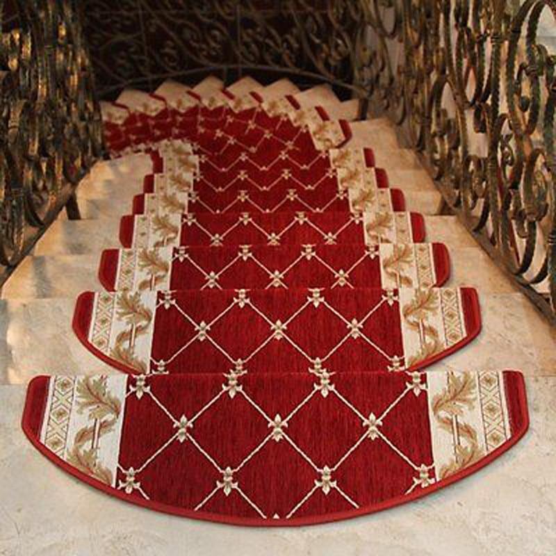 Durable Classic Design Stair Carpet European Style Mat Floral Non-Skid Step Carpet Home Garden Supplies