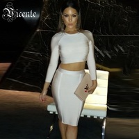 Free Shipping 2015 AW Must Have Nude Collection Long Sleeves Two Pieces HL Bandage Dress Celebrity
