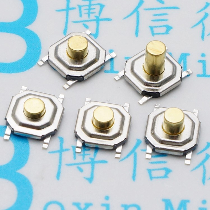 100pcs 4 * 4 * 1.5 / 2 / 2.3 / 2.5 / 3 / 3.5 / 4.3 MM SMD button touch micro switch / waterproof copper head 4pin 4 feet four