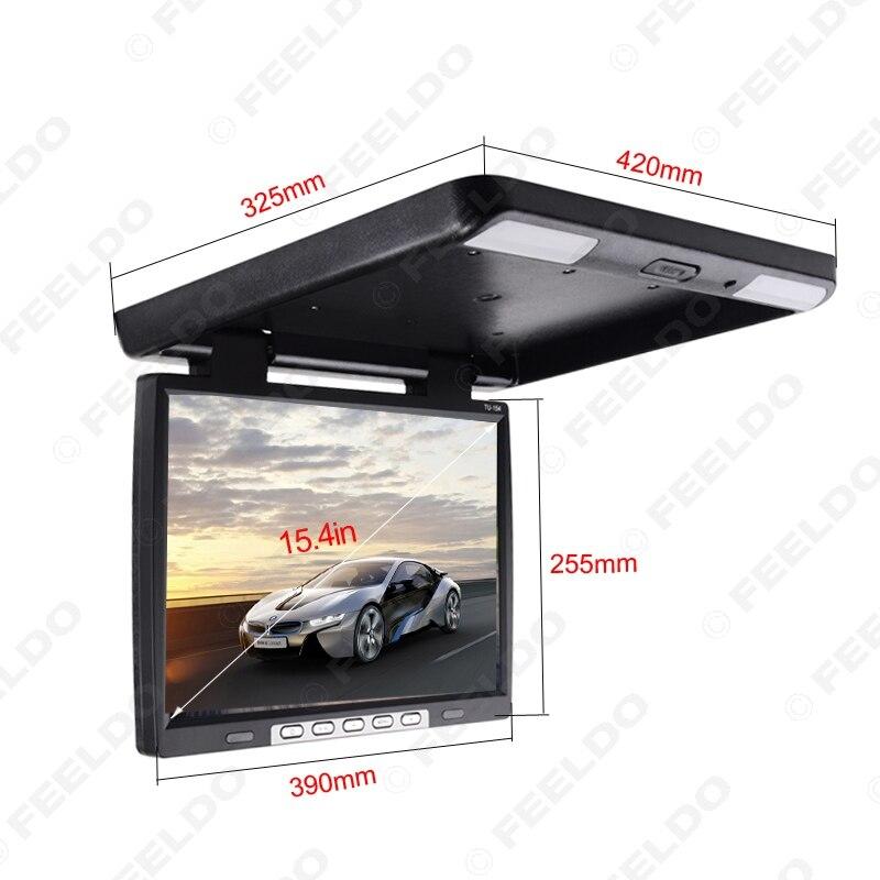 DC12V 15.4 Polegada Carro/Ônibus TFT LCD Telhado Monitor Montado Flip Down Monitor 2 Entrada de Vídeo Maneira com HDMI/VGA/USB/SD/FM Speaker - 3