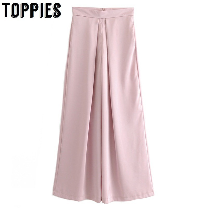 High Waist Pink Silks Satins   Wide     Leg     Pants   Lady Summer Leisure Suit   Pants   Women Loose Trousers pantalon femme