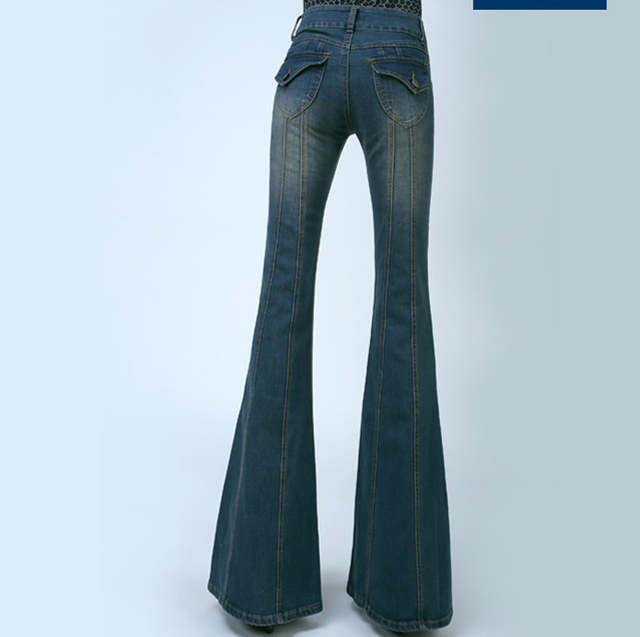 9fa0bbeac516 Women Plus Size High Waist Slim Leg Flared Jeans Female Bell Bottom Bootcut  Trouser Ladies Sexy