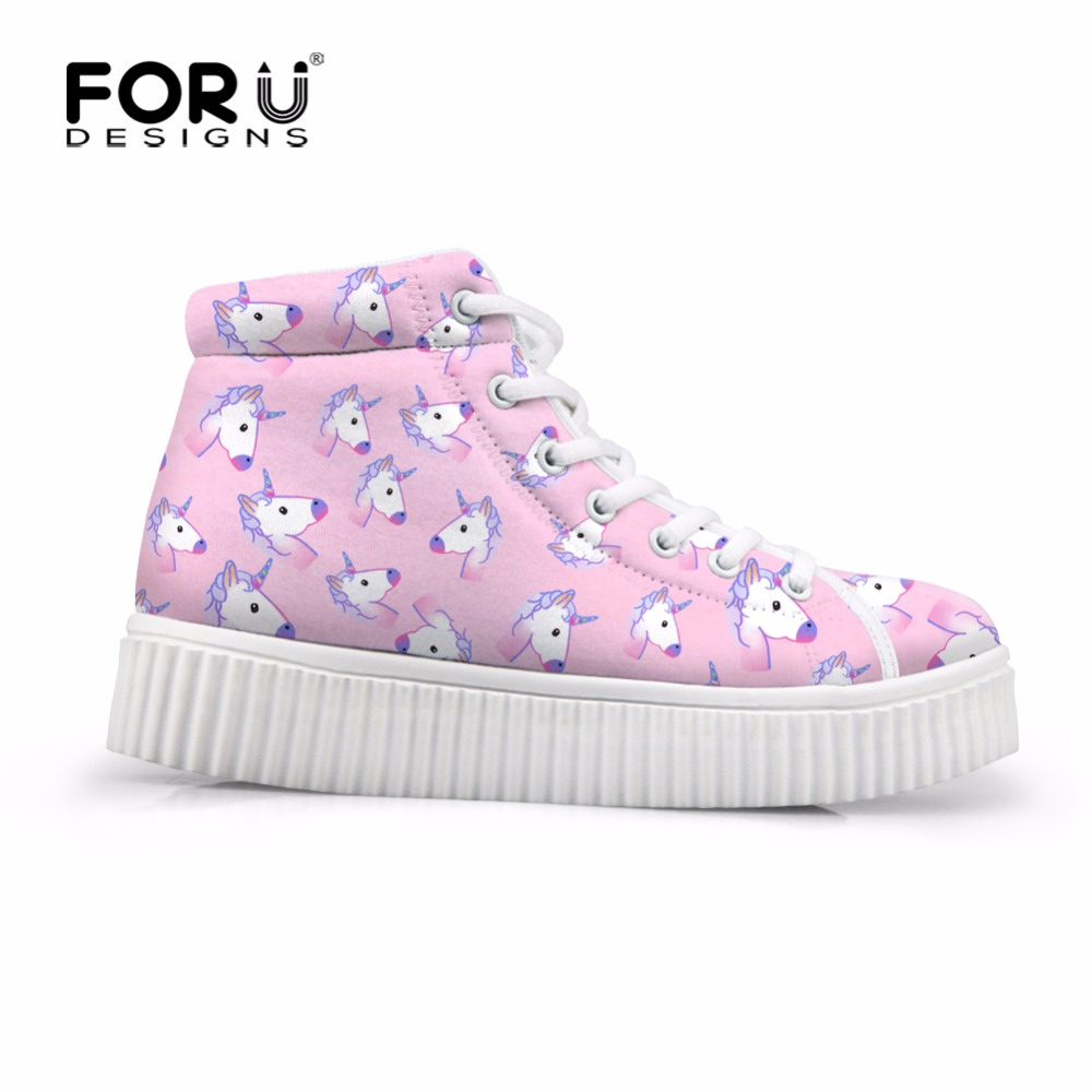 FORUDESIGNS Fashion Unicorn Women Cute Casual Shoes Brand Design High Top Platform Female Shoes Flats Lace-up Breathable Boots fashion embroidery flat platform shoes women casual shoes female soft breathable walking cute students canvas shoes tufli tenis