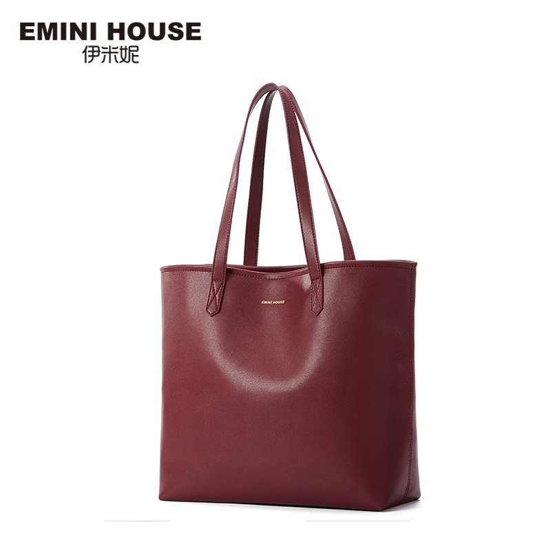 EMINI HOUSE Split Leather Tote Bag High Capacity Shoulder Bag Luxury Handbags Women Bags Designer Practical Women Bags Lady Tote
