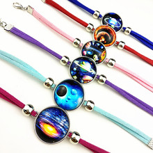 24pcs New design Outer Space,Star Space,Galaxy Glass Charm bracelets ,Popular Cartoon party gift Wholesale