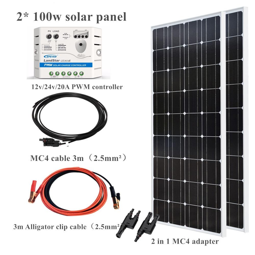 2*100 w 200 painel solar de vidro sistema kit módulo epsolar 20a controlador cabo adaptador para 12v 24v carga da bateria casa telhado barco