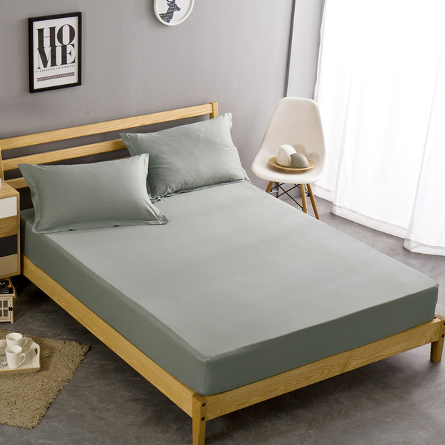 Whole Solid Color Sheets Ed Bed Sheet Elastic Mattress Cover Linen Bedspread Polyester Cotton Single