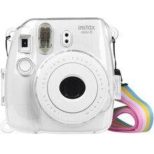 Fujifilm Instax Mini 9 durumda şeffaf kristal plastik kapak kamera koruyucu kılıf çanta askısı ile Fujifilm instax Mini 8/9/8 +
