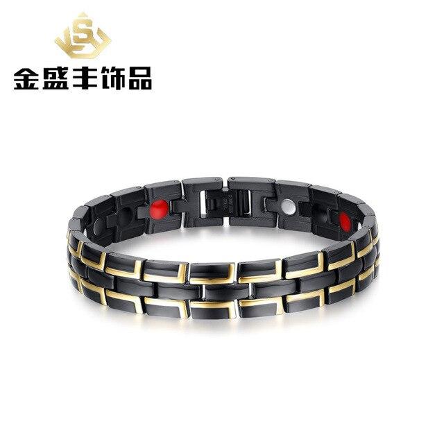 Men's 12.2mm gold and black titanium magnetic bracelet tide male Gold plating black bracelet jewelry wholesale SBRM-014