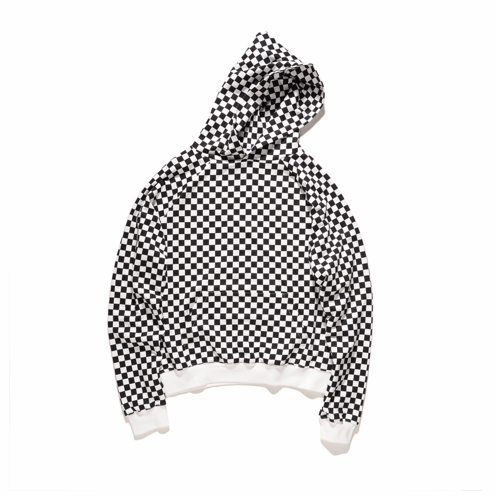 2017 fashion new design white and black Plaid pullover Men Hip Hop casual Street wear Hoodies Sweatshirts Loose Cotton clothes