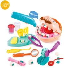Doctor Children Dentist Color Mud Set Pretend Teeth Toy Kids Creative Playdough Mold Dentist Kit Kindergarten School Education