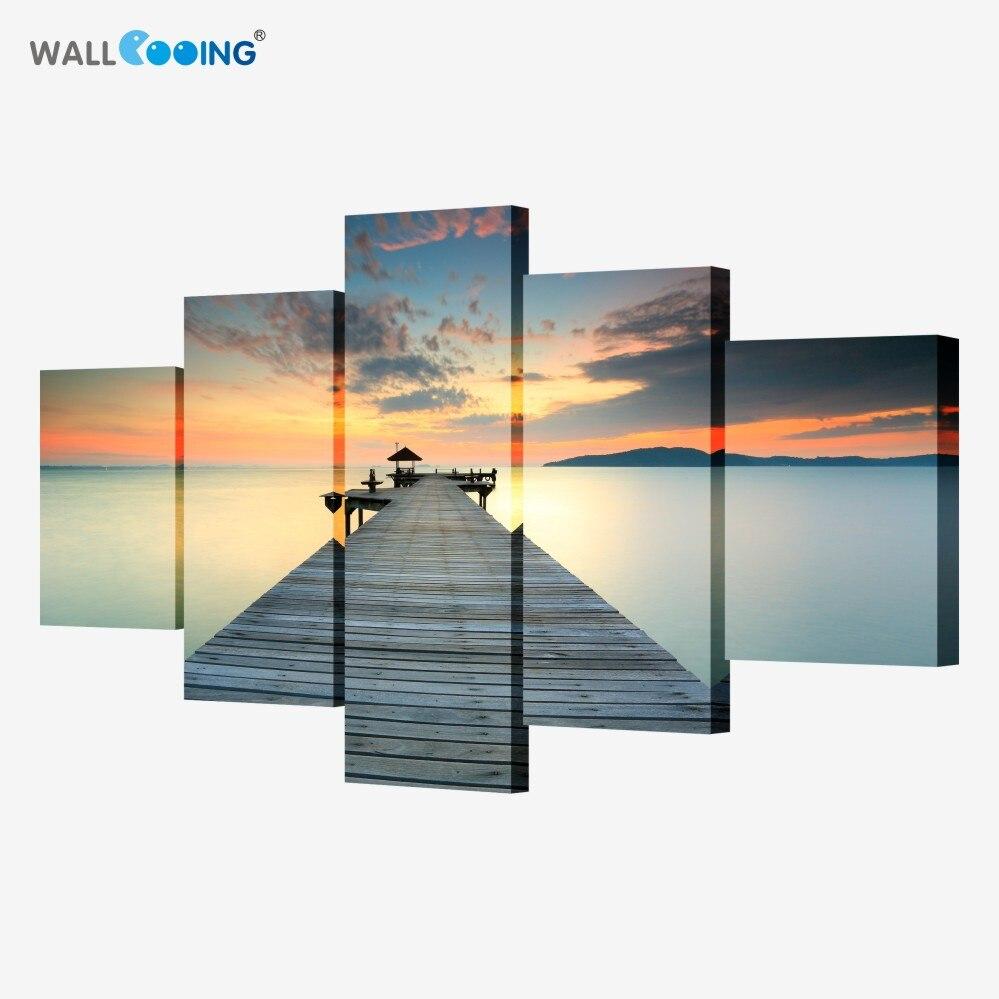 5 шт. закат Wall Art сумерках Pier Декоративные Холст Картина гостиной диван спальня цветы холст (без рамки)