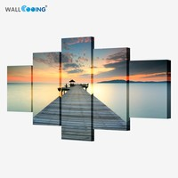 Art Beach Waves Dusk Pier Decorative Painting Canvas Painting The Living Room Sofa Background Wall Beach