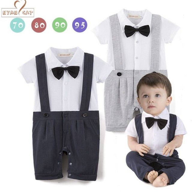 Nyan Cat Baby boy cotton outfit Gentleman 1 Piece Bow Tie short sleeve  jumpsuit infant summer birthday Wedding Holiday clothes c1827cd77819